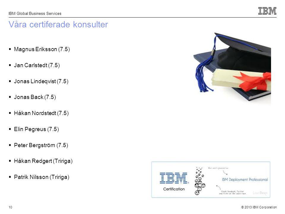 © 2013 IBM Corporation IBM Global Business Services 10 Våra certiferade konsulter  Magnus Eriksson (7.5)  Jan Carlstedt (7.5)  Jonas Lindeqvist (7.