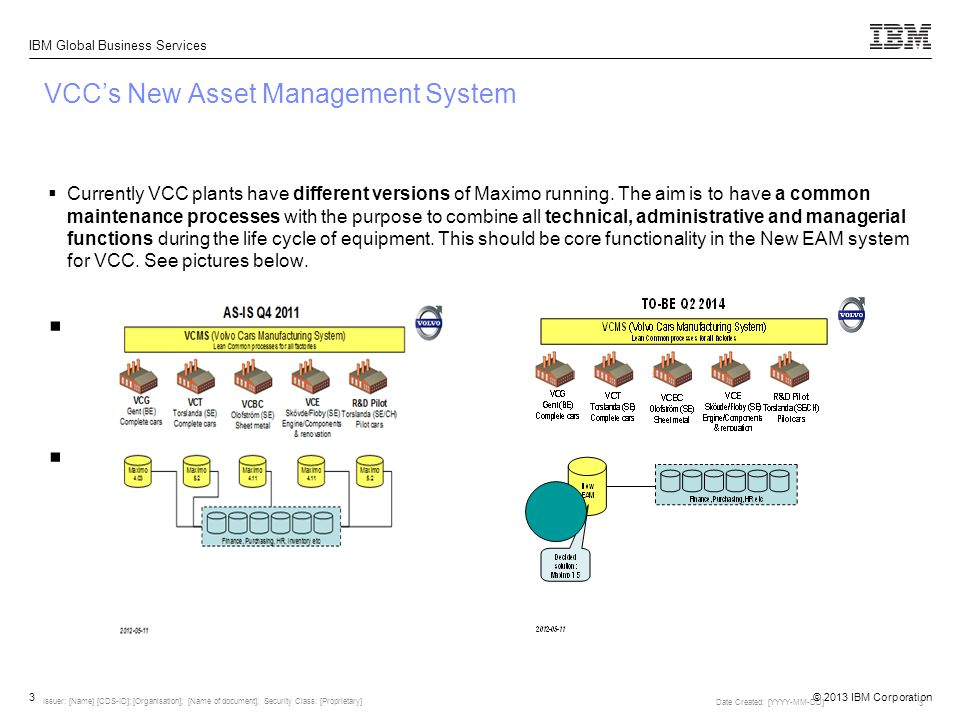 © 2013 IBM Corporation IBM Global Business Services 3 VCC's New Asset Management System  Currently VCC plants have different versions of Maximo runni