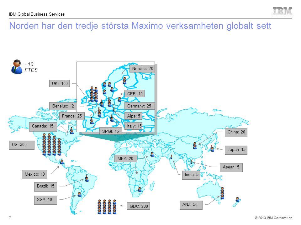 © 2013 IBM Corporation IBM Global Business Services 7 Norden har den tredje största Maximo verksamheten globalt sett ANZ: 50 India: 5 Brazil: 15 SSA: