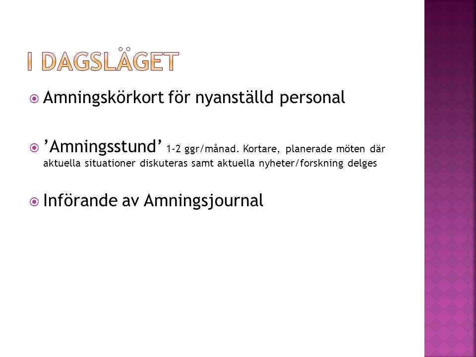  Amningskörkort för nyanställd personal  'Amningsstund' 1-2 ggr/månad.