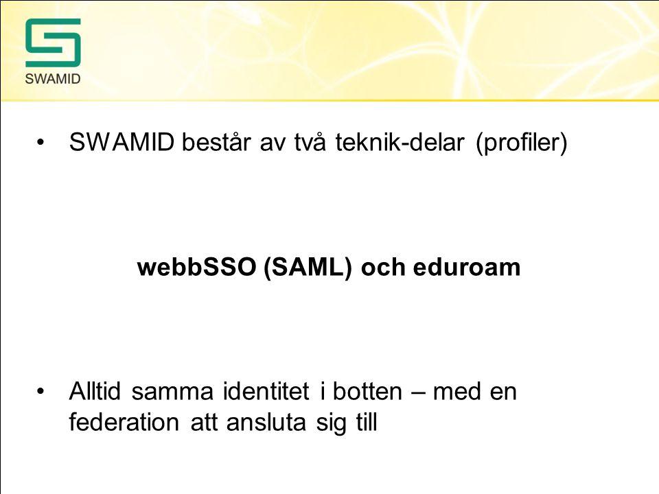 •SWAMID består av två teknik-delar (profiler) webbSSO (SAML) och eduroam •Alltid samma identitet i botten – med en federation att ansluta sig till