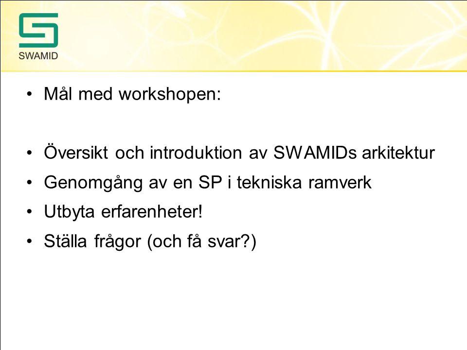 •Mål med workshopen: •Översikt och introduktion av SWAMIDs arkitektur •Genomgång av en SP i tekniska ramverk •Utbyta erfarenheter! •Ställa frågor (och