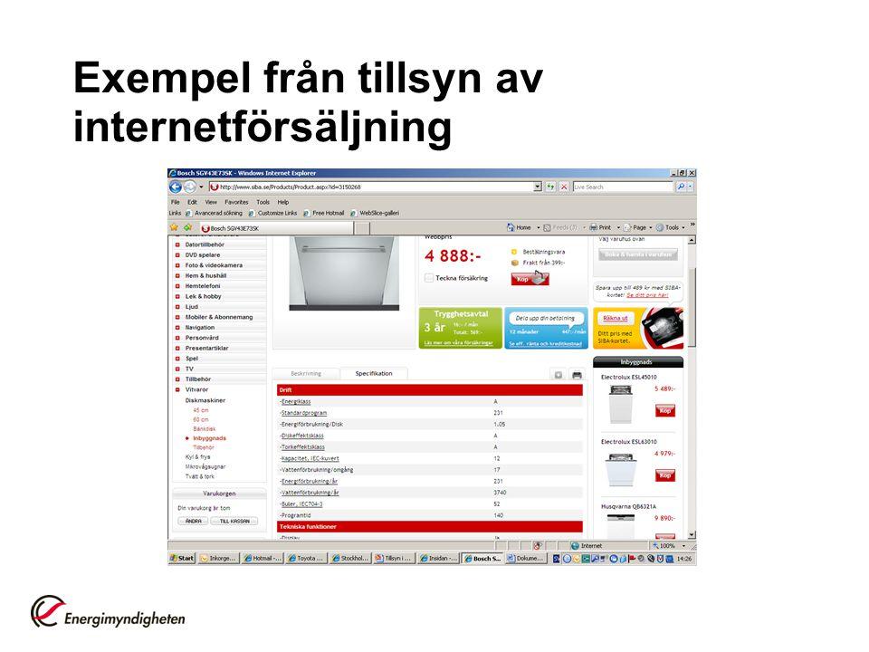 Exempel från tillsyn av internetförsäljning