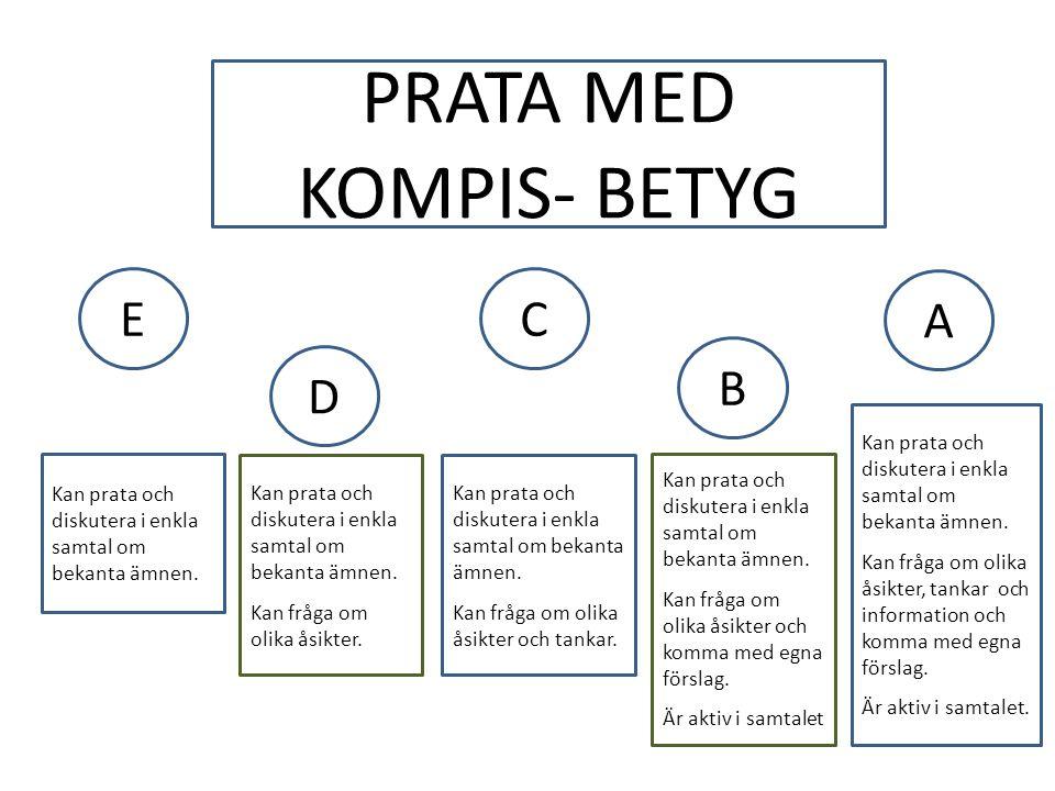 PRATA MED KOMPIS- BETYG EC A D B Kan prata och diskutera i enkla samtal om bekanta ämnen.