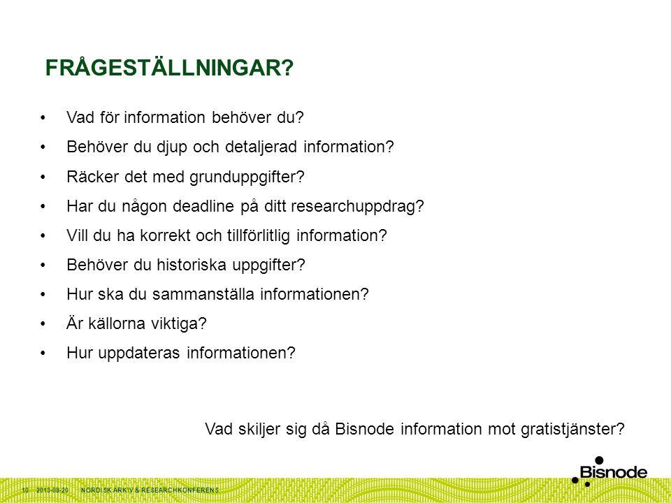 FRÅGESTÄLLNINGAR? •Vad för information behöver du? •Behöver du djup och detaljerad information? •Räcker det med grunduppgifter? •Har du någon deadline
