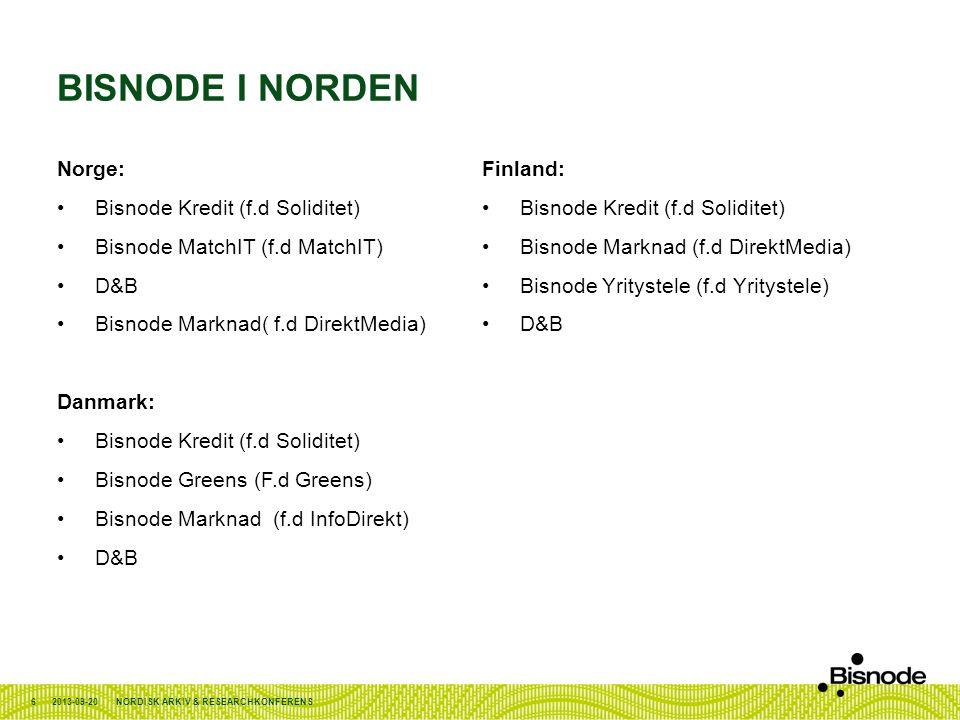BISNODE I NORDEN Norge: •Bisnode Kredit (f.d Soliditet) •Bisnode MatchIT (f.d MatchIT) •D&B •Bisnode Marknad( f.d DirektMedia) Danmark: •Bisnode Kredi