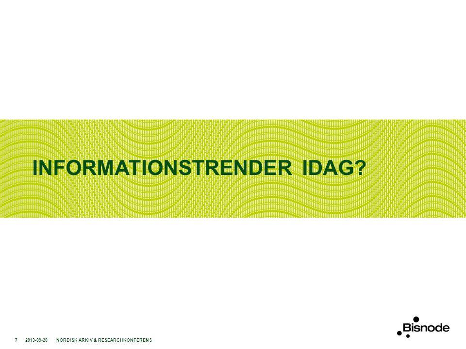INFORMATIONSTRENDER IDAG? 2013-09-20NORDISK ARKIV & RESEARCHKONFERENS7