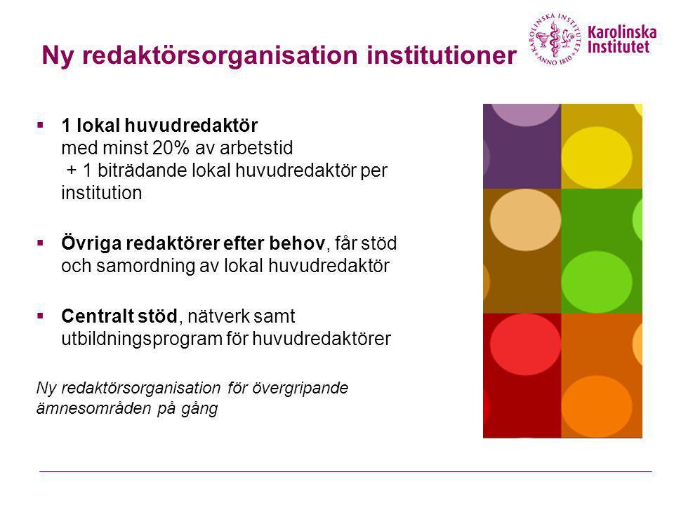 Ny redaktörsorganisation institutioner  1 lokal huvudredaktör med minst 20% av arbetstid + 1 biträdande lokal huvudredaktör per institution  Övriga
