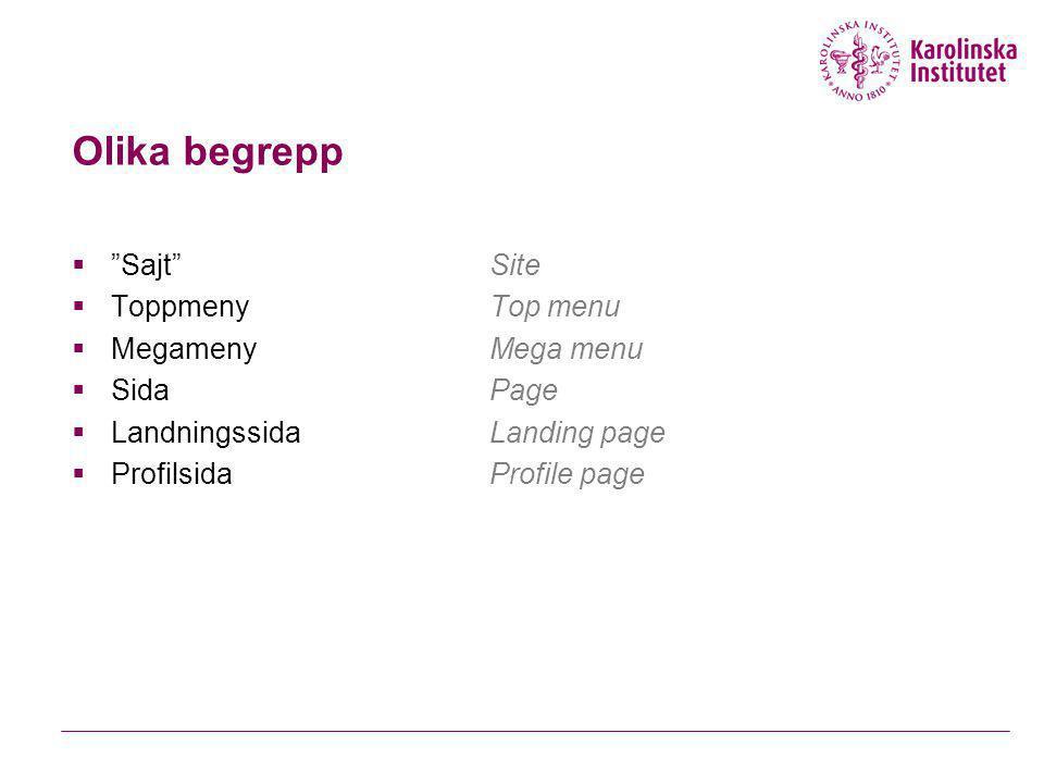 "Olika begrepp  ""Sajt""Site  ToppmenyTop menu  MegamenyMega menu  SidaPage  LandningssidaLanding page  ProfilsidaProfile page"