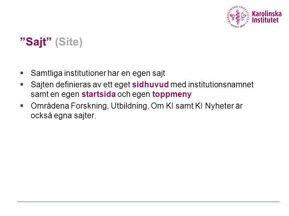Sajt (Site)  Samtliga institutioner har en egen sajt  Sajten definieras av ett eget sidhuvud med institutionsnamnet samt en egen startsida och egen toppmeny  Områdena Forskning, Utbildning, Om KI samt KI Nyheter är också egna sajter.