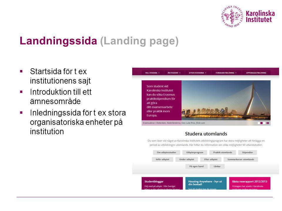 Landningssida (Landing page)  Startsida för t ex institutionens sajt  Introduktion till ett ämnesområde  Inledningssida för t ex stora organisatoriska enheter på institution