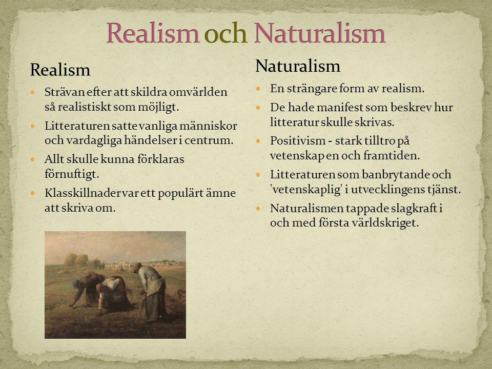 Realism  Strävan efter att skildra omvärlden så realistiskt som möjligt.  Litteraturen satte vanliga människor och vardagliga händelser i centrum. 
