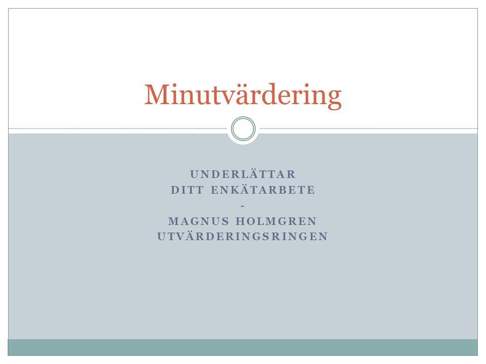 UNDERLÄTTAR DITT ENKÄTARBETE - MAGNUS HOLMGREN UTVÄRDERINGSRINGEN Minutvärdering