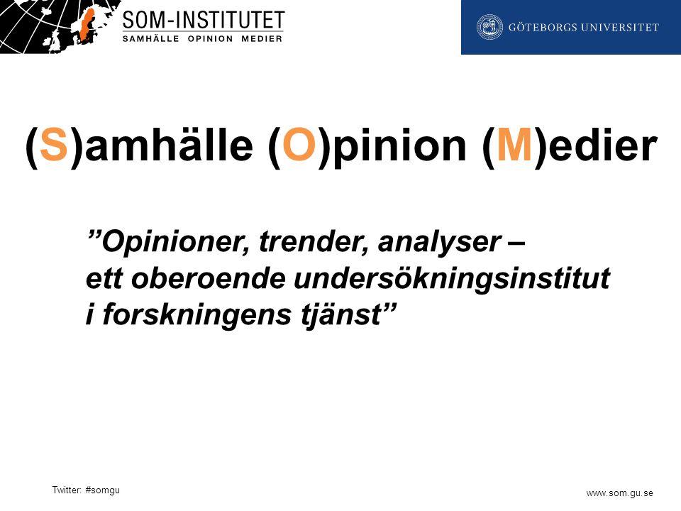 """www.som.gu.se Twitter: #somgu """"Opinioner, trender, analyser – ett oberoende undersökningsinstitut i forskningens tjänst"""" (S)amhälle (O)pinion (M)edier"""