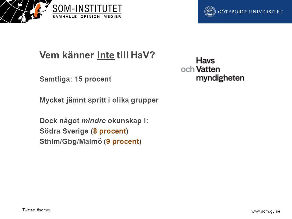 www.som.gu.se Twitter: #somgu Vem känner inte till HaV? Samtliga: 15 procent Mycket jämnt spritt i olika grupper Dock något mindre okunskap i: Södra S