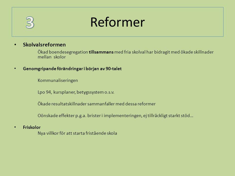 Reformer • Skolvalsreformen Ökad boendesegregation tillsammans med fria skolval har bidragit med ökade skillnader mellan skolor • Genomgripande föränd