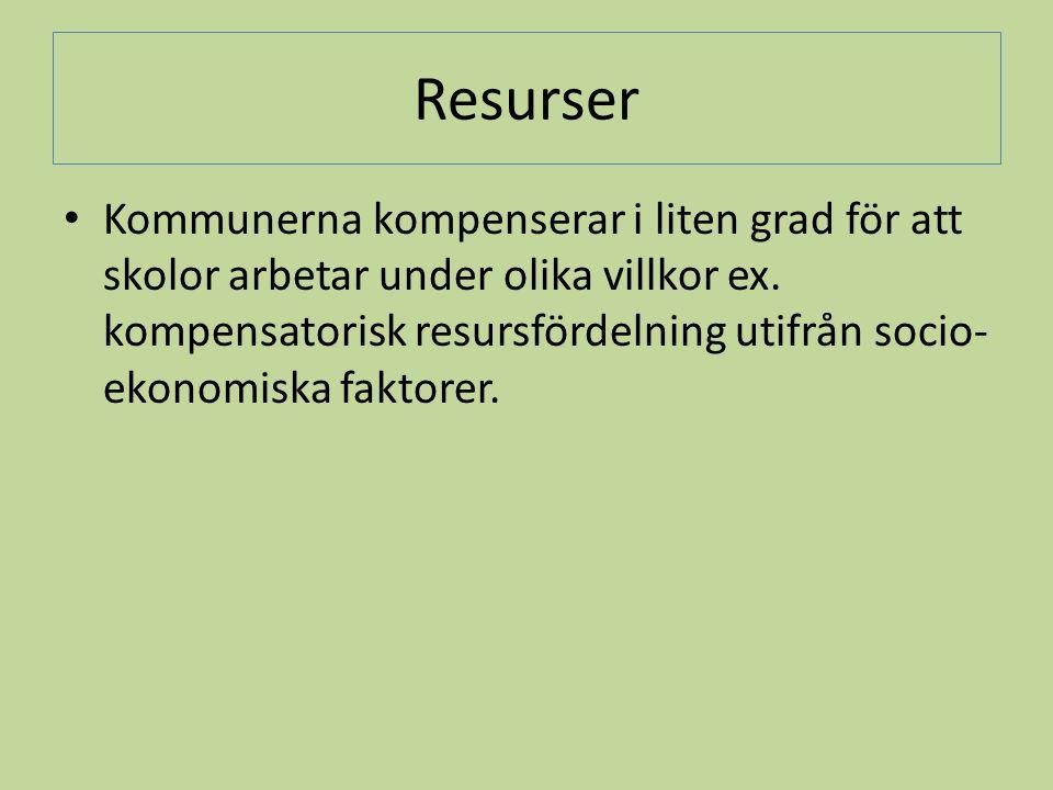 Resurser • Kommunerna kompenserar i liten grad för att skolor arbetar under olika villkor ex. kompensatorisk resursfördelning utifrån socio- ekonomisk