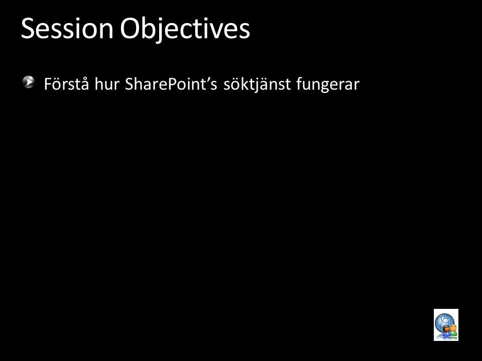 Session Objectives Förstå hur SharePoint's söktjänst fungerar