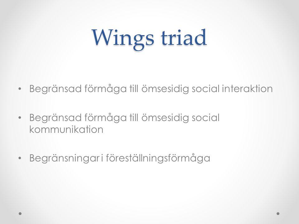 Wings triad • Begränsad förmåga till ömsesidig social interaktion • Begränsad förmåga till ömsesidig social kommunikation • Begränsningar i föreställn