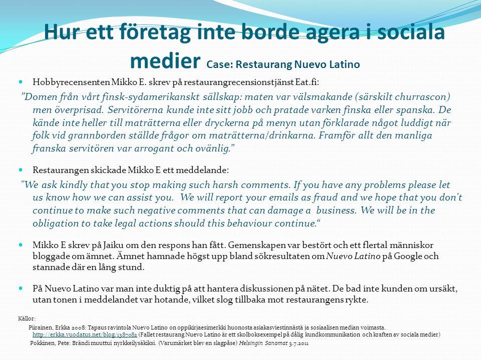 Hur ett företag inte borde agera i sociala medier Case: Restaurang Nuevo Latino  Hobbyrecensenten Mikko E.