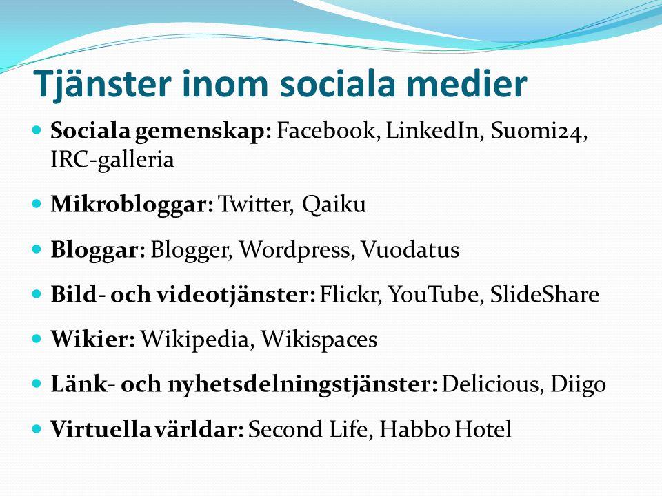 Tjänster inom sociala medier  Sociala gemenskap: Facebook, LinkedIn, Suomi24, IRC-galleria  Mikrobloggar: Twitter, Qaiku  Bloggar: Blogger, Wordpress, Vuodatus  Bild- och videotjänster: Flickr, YouTube, SlideShare  Wikier: Wikipedia, Wikispaces  Länk- och nyhetsdelningstjänster: Delicious, Diigo  Virtuella världar: Second Life, Habbo Hotel