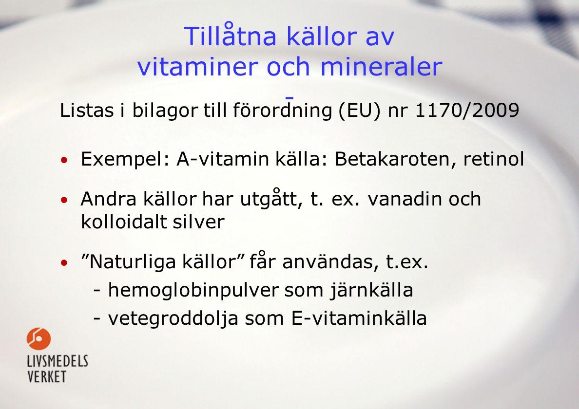 Produktexempel – Kosttillskott Dosering: 12 g ca två tsk innehåller näringsämnendagsdos% RDIRDIUL Vitamin D 5 µg 100 5 µg 100 µg Vitamin E 727 mg 6580 12 mg 300 mg Vitamin C 500 mg 833 80 mgEj fastställd Vitamin B1 350 mg 25000Ej fastställd Pantotensyra - B5 100 mg 1666 6 mgEj fastställd Vitamin B6 100 mg 6666 1,4 mg 25 mg Vitamin B12 100 µg 5000 2,5 µgEj fastställd Biotin 100 µg 200 50 µgEj fastställd Folsyra 800 µg 266 200 µg1000 µg Kalcium 250 mg 31 800 mg2500 mg Magnesium 125 mg 36 375 mg 250 mg Zink 7 mg 77 10 mg 25 mg
