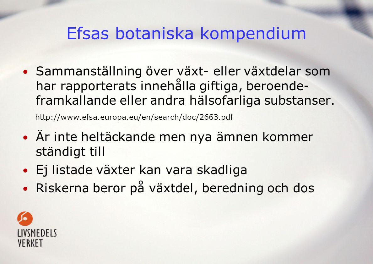 •Ämnesguiden från Läkemedelsverket (finns på www.lmv.se) www.lmv.se •Danska Drogelisten •Giftinformationscentralen (finns på www.gic.se)www.gic.se •FASS •Den virtuella floran •M.fl.