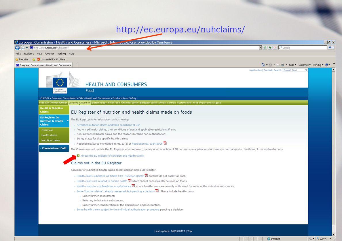 Anita Laser Reuterswärd 24 november 2009 Databas att ladda ner Var hittar jag de tillåtna art 13.1-påståendena.