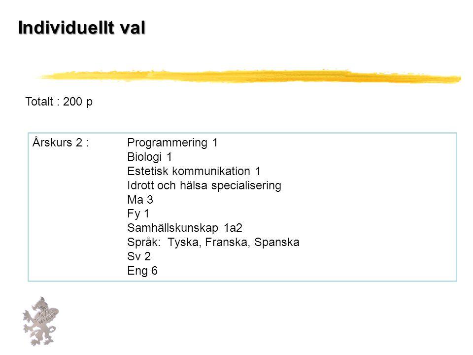 Individuellt val Totalt : 200 p Årskurs 2 : Programmering 1 Biologi 1 Estetisk kommunikation 1 Idrott och hälsa specialisering Ma 3 Fy 1 Samhällskunskap 1a2 Språk: Tyska, Franska, Spanska Sv 2 Eng 6