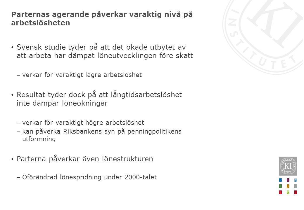 Parternas agerande påverkar varaktig nivå på arbetslösheten • Svensk studie tyder på att det ökade utbytet av att arbeta har dämpat löneutvecklingen f