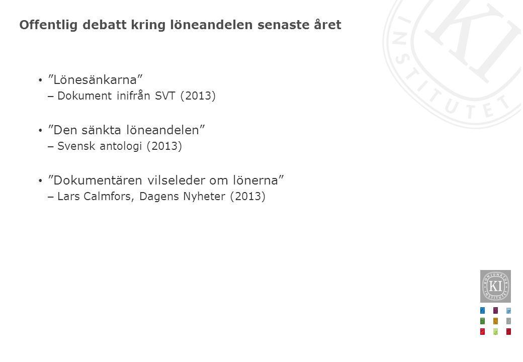 """Offentlig debatt kring löneandelen senaste året • """"Lönesänkarna"""" – Dokument inifrån SVT (2013) • """"Den sänkta löneandelen"""" – Svensk antologi (2013) • """""""