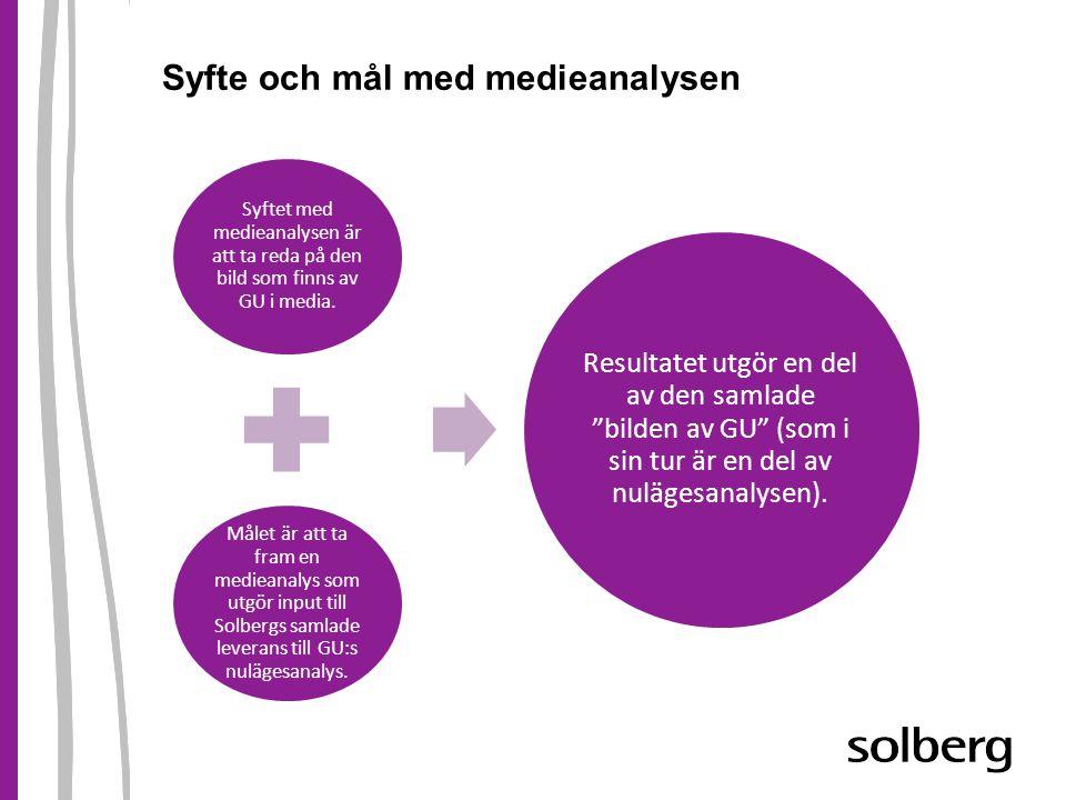 Syfte och mål med medieanalysen Syftet med medieanalysen är att ta reda på den bild som finns av GU i media. Målet är att ta fram en medieanalys som u