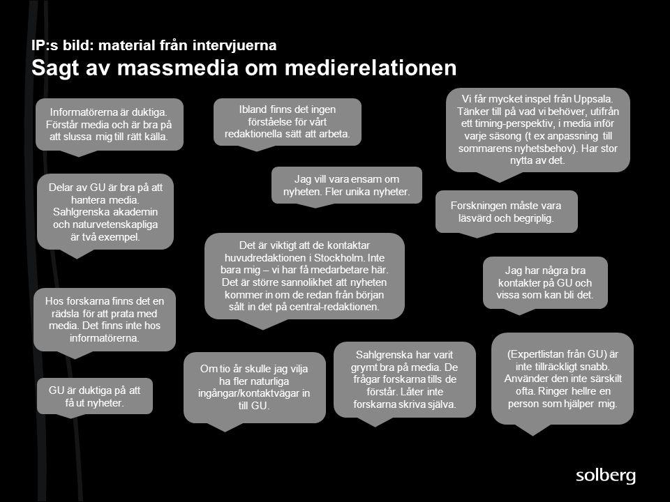 IP:s bild: material från intervjuerna Sagt av massmedia om medierelationen Informatörerna är duktiga. Förstår media och är bra på att slussa mig till