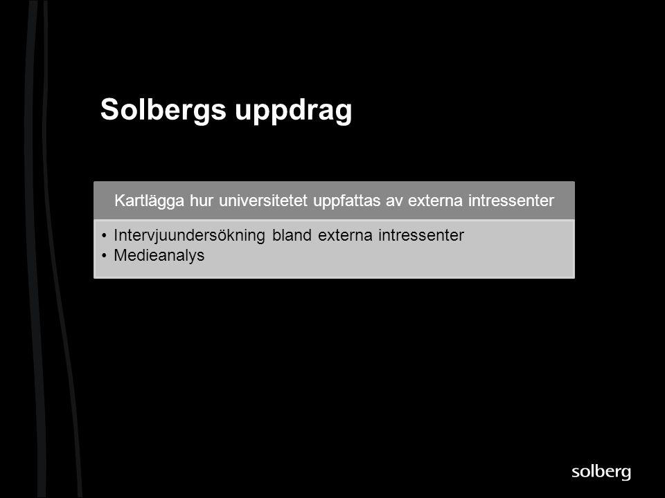 Solbergs uppdrag Kartlägga hur universitetet uppfattas av externa intressenter •Intervjuundersökning bland externa intressenter •Medieanalys