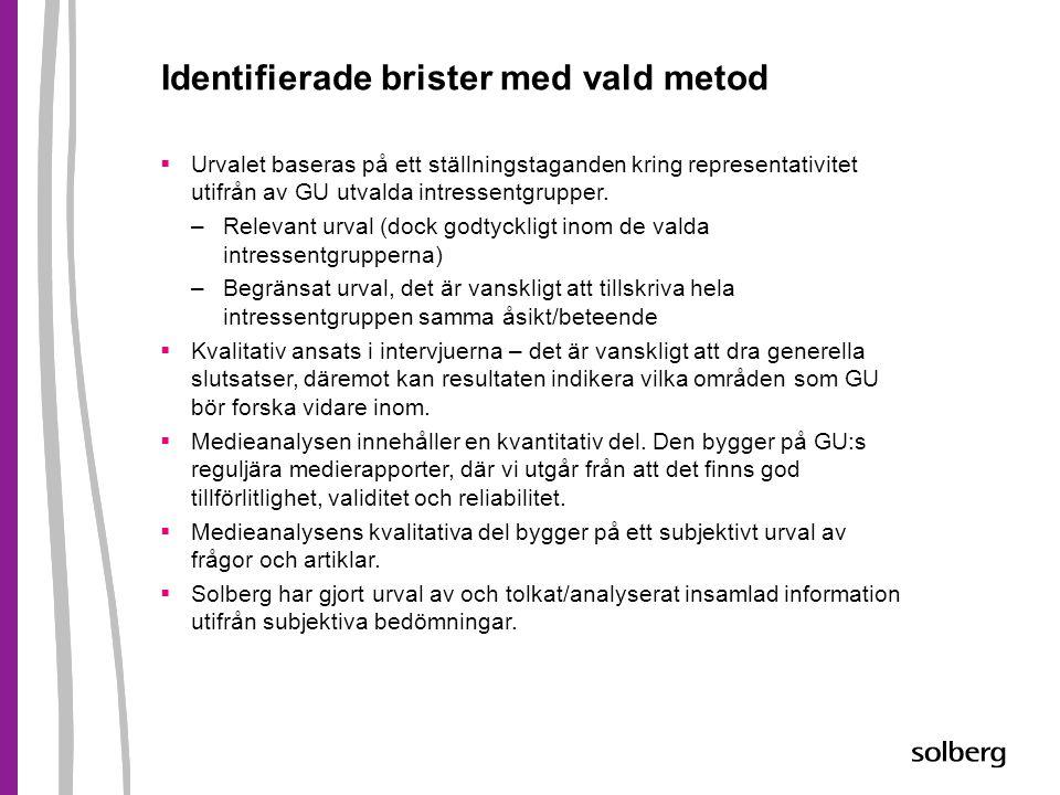 Identifierade brister med vald metod  Urvalet baseras på ett ställningstaganden kring representativitet utifrån av GU utvalda intressentgrupper. –Rel