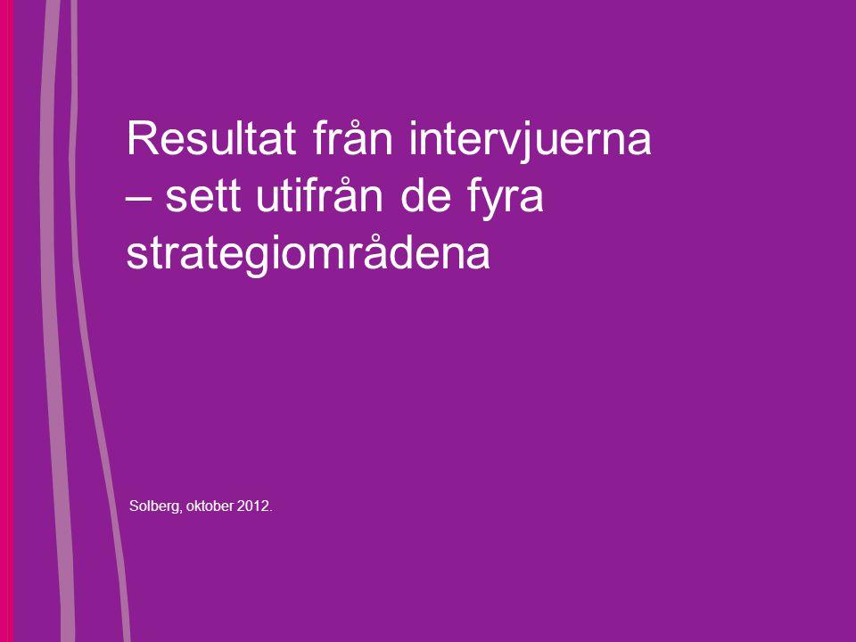 Resultat från intervjuerna – sett utifrån de fyra strategiområdena Solberg, oktober 2012.