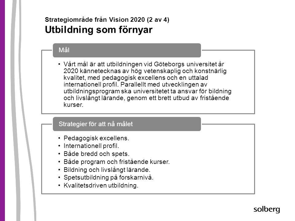 Strategiområde från Vision 2020 (2 av 4) Utbildning som förnyar •Vårt mål är att utbildningen vid Göteborgs universitet år 2020 kännetecknas av hög ve