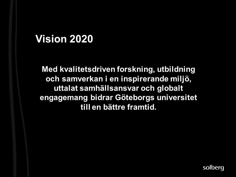 Vision 2020 Med kvalitetsdriven forskning, utbildning och samverkan i en inspirerande miljö, uttalat samhällsansvar och globalt engagemang bidrar Göte