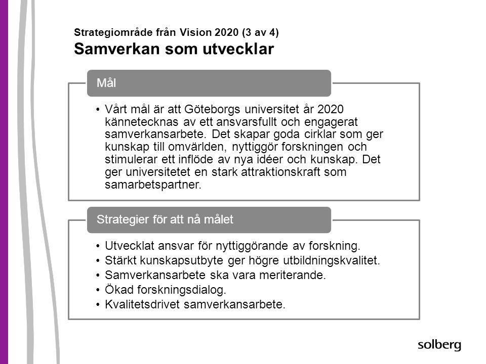Strategiområde från Vision 2020 (3 av 4) Samverkan som utvecklar •Vårt mål är att Göteborgs universitet år 2020 kännetecknas av ett ansvarsfullt och e