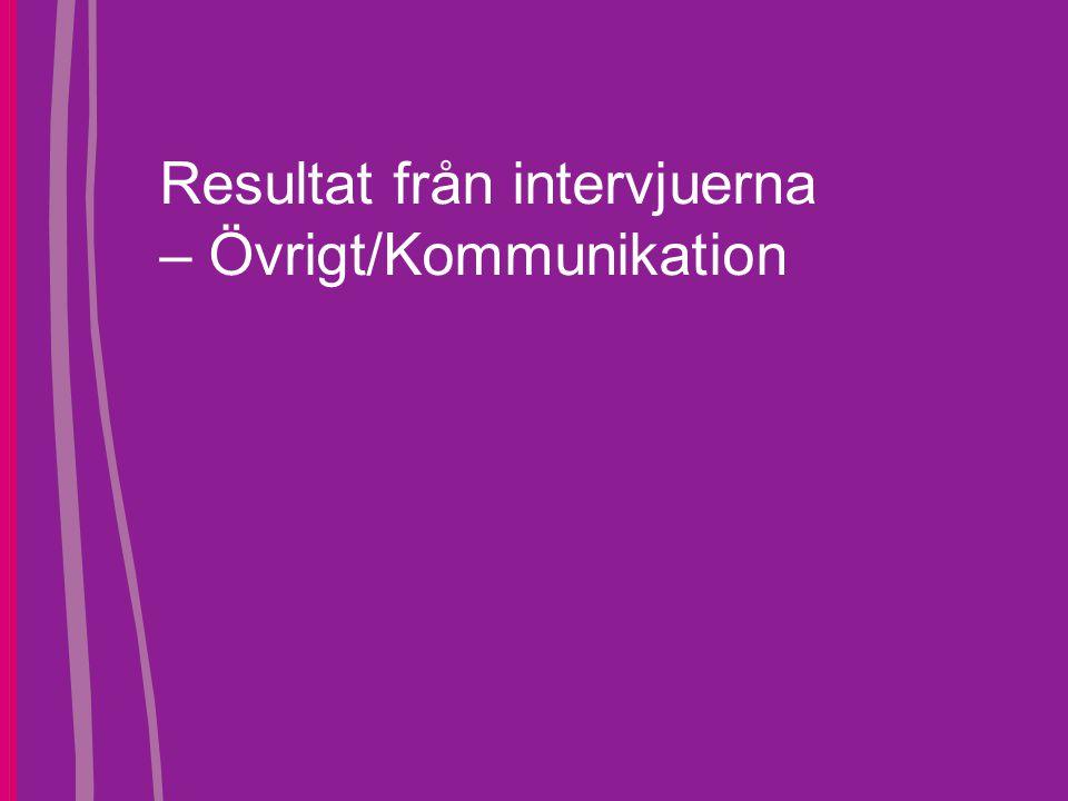 Resultat från intervjuerna – Övrigt/Kommunikation