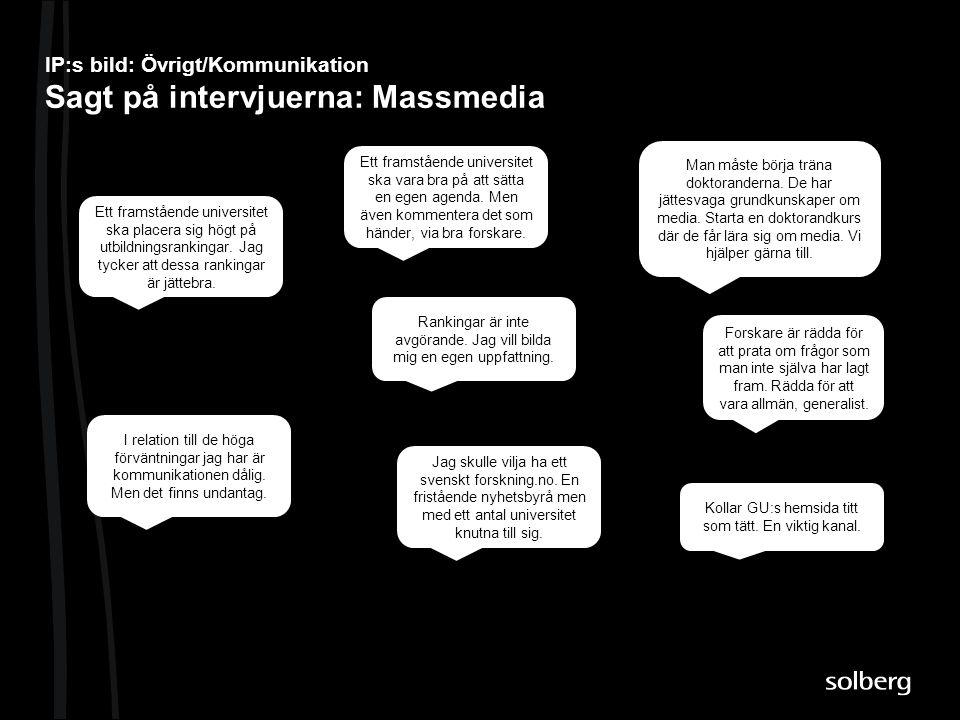IP:s bild: Övrigt/Kommunikation Sagt på intervjuerna: Massmedia Ett framstående universitet ska vara bra på att sätta en egen agenda. Men även komment