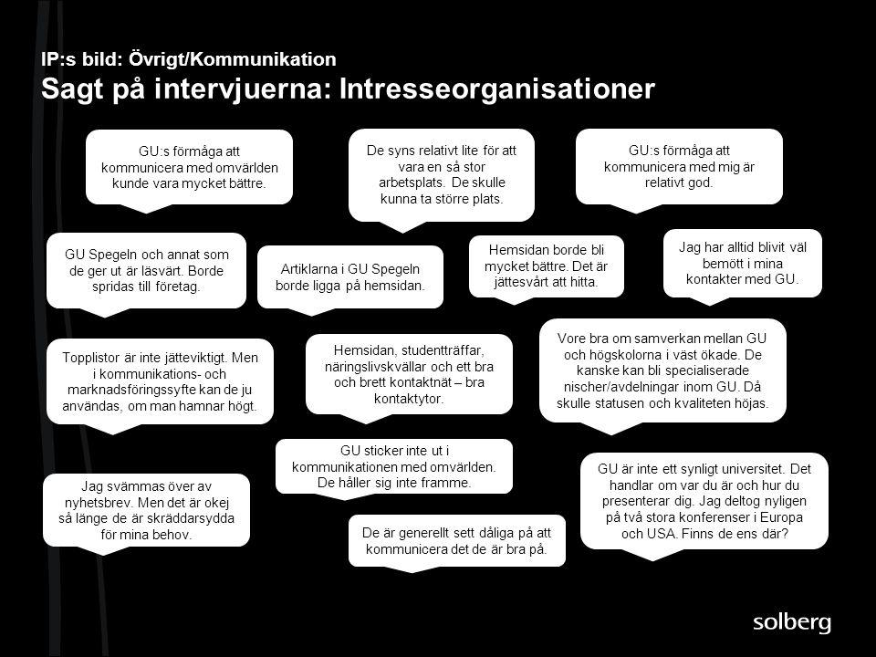 IP:s bild: Övrigt/Kommunikation Sagt på intervjuerna: Intresseorganisationer De syns relativt lite för att vara en så stor arbetsplats. De skulle kunn