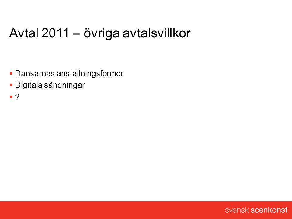 Avtal 2011 – övriga avtalsvillkor  Dansarnas anställningsformer  Digitala sändningar  ?