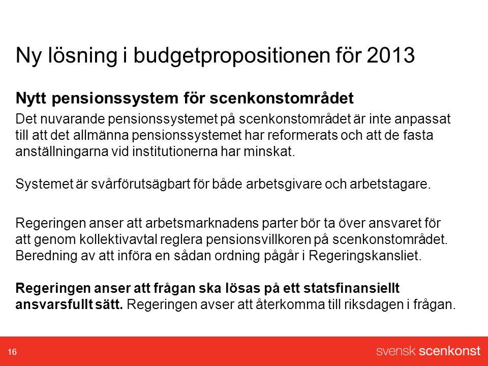Ny lösning i budgetpropositionen för 2013 Nytt pensionssystem för scenkonstområdet Det nuvarande pensionssystemet på scenkonstområdet är inte anpassat till att det allmänna pensionssystemet har reformerats och att de fasta anställningarna vid institutionerna har minskat.