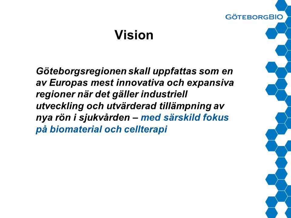 Vision Göteborgsregionen skall uppfattas som en av Europas mest innovativa och expansiva regioner när det gäller industriell utveckling och utvärderad tillämpning av nya rön i sjukvården – med särskild fokus på biomaterial och cellterapi