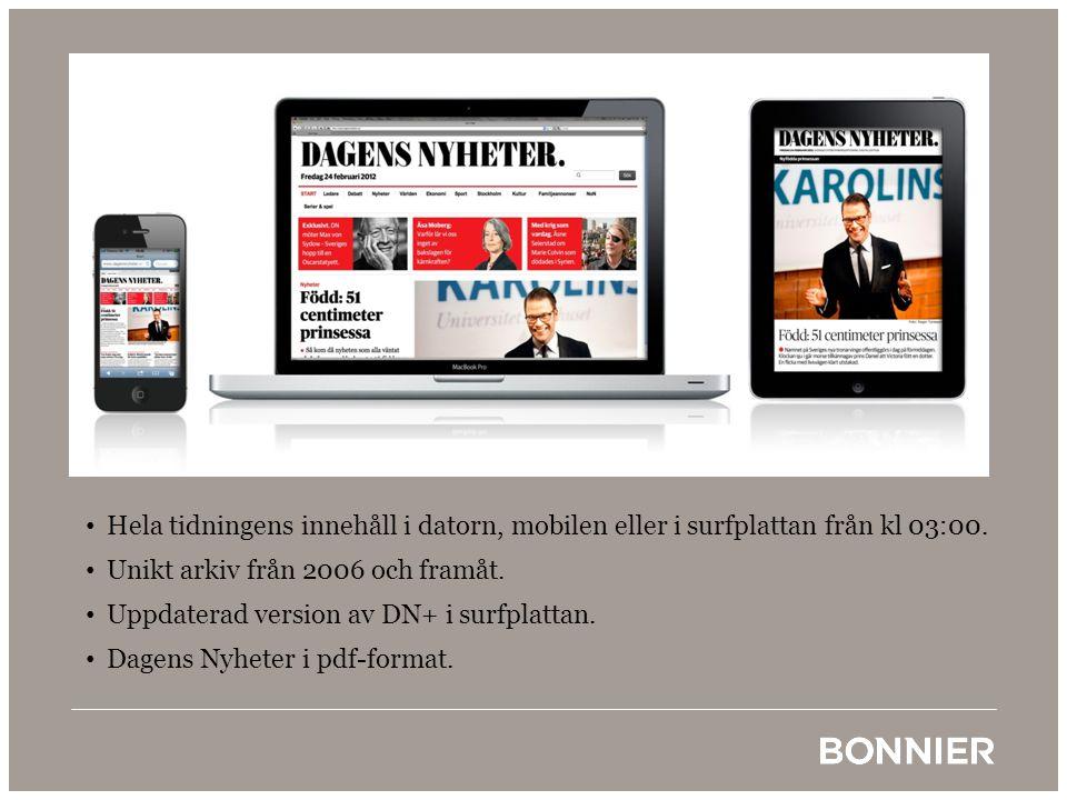 • Hela tidningens innehåll i datorn, mobilen eller i surfplattan från kl 03:00. • Unikt arkiv från 2006 och framåt. • Uppdaterad version av DN+ i surf