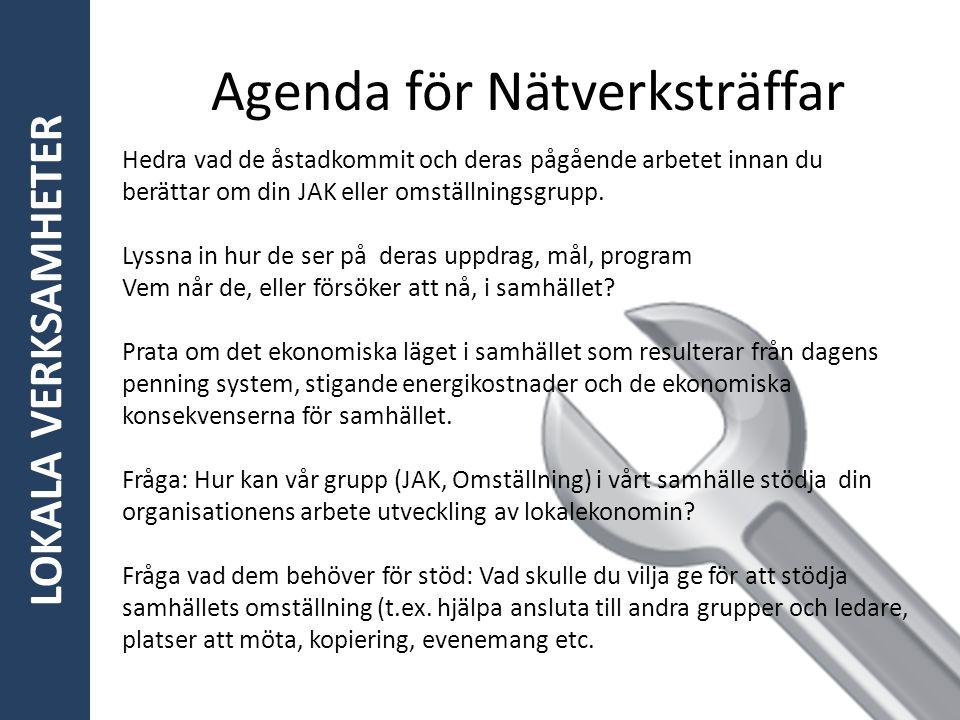 LOKALA VERKSAMHETER Agenda för Nätverksträffar Hedra vad de åstadkommit och deras pågående arbetet innan du berättar om din JAK eller omställningsgrup