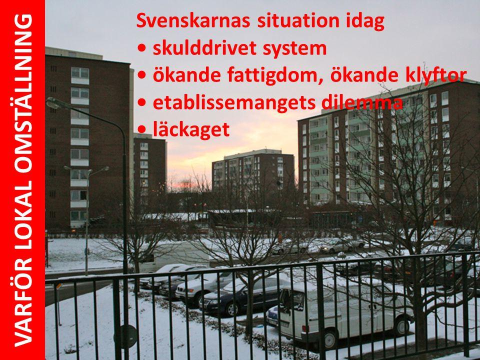 Svenskarnas situation idag • skulddrivet system • ökande fattigdom, ökande klyftor • etablissemangets dilemma • läckaget VARFÖR LOKAL OMSTÄLLNING