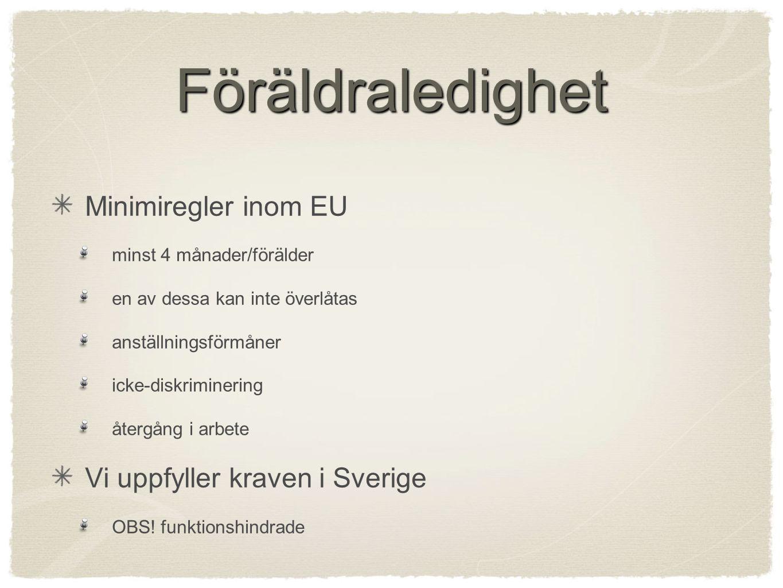 Föräldraledighet Minimiregler inom EU minst 4 månader/förälder en av dessa kan inte överlåtas anställningsförmåner icke-diskriminering återgång i arbete Vi uppfyller kraven i Sverige OBS.