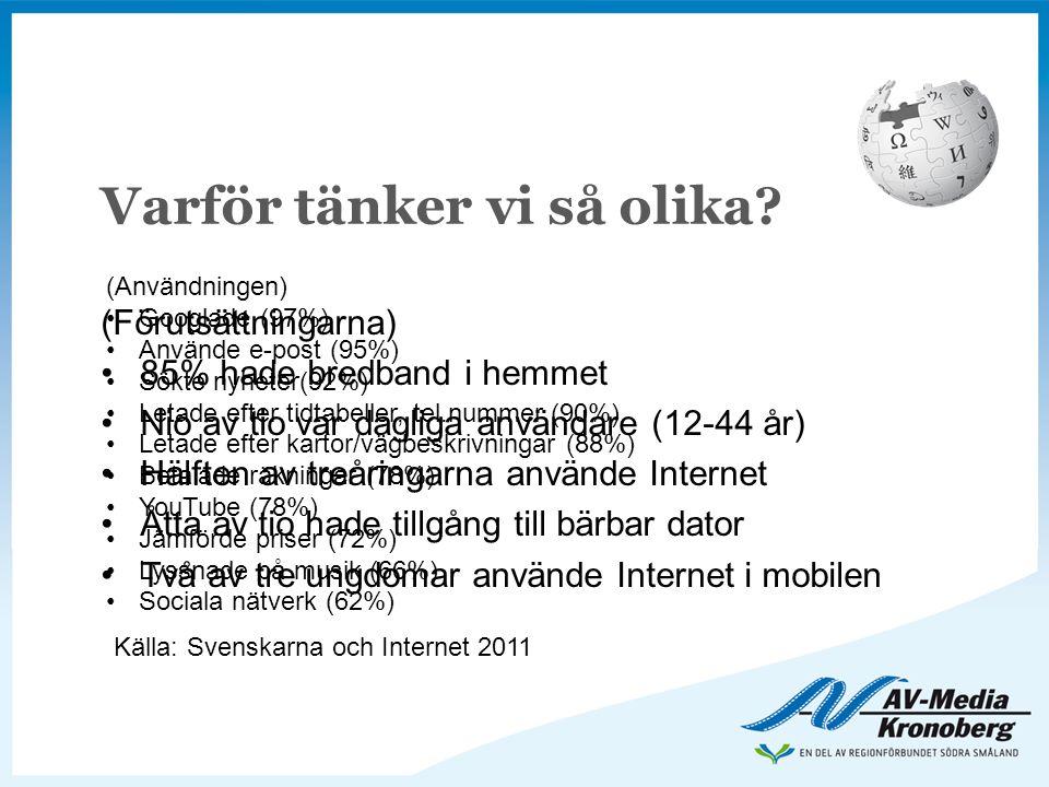 Varför tänker vi så olika? (Förutsättningarna) •85% hade bredband i hemmet •Nio av tio var dagliga användare (12-44 år) •Hälften av treåringarna använ